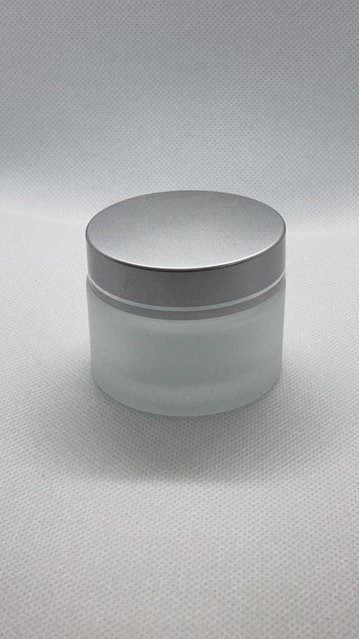 צנצנת זכוכית פרוסטד 50 מ״ל כולל מכסה