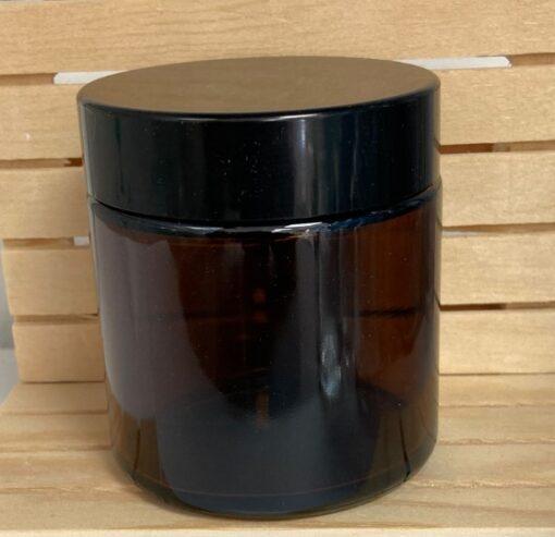 צנצנת זכוכית 120 מ״ל כולל מכסה שחור